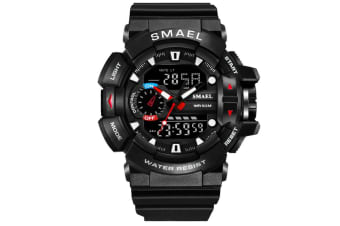 Mens Sport Quartz Digital Watch Blacksilver