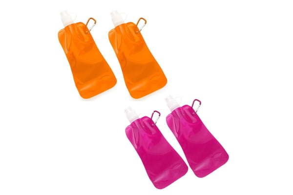 4x Doozie 450ml Collapsible Camping Water Drink Bottle Gym Sport Orange Pink
