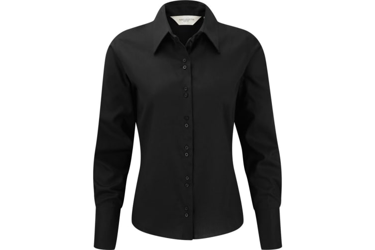 Russell Collection Ladies/Womens Long Sleeve Ultimate Non-Iron Shirt (Black) (3XL)