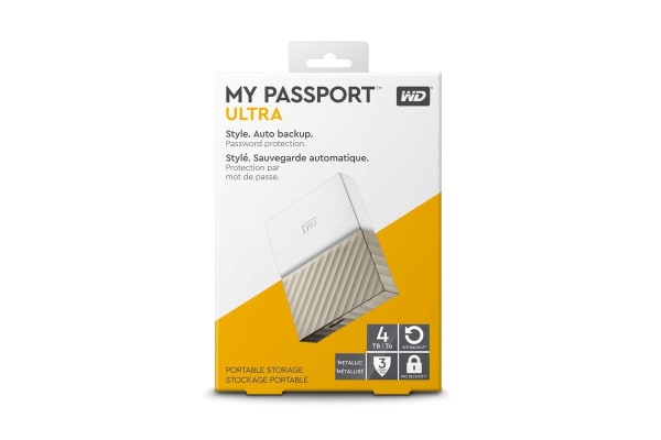 WD My Passport Ultra 4TB Portable Hard Drive - Gold (WDBFKT0040BGD-WESN)