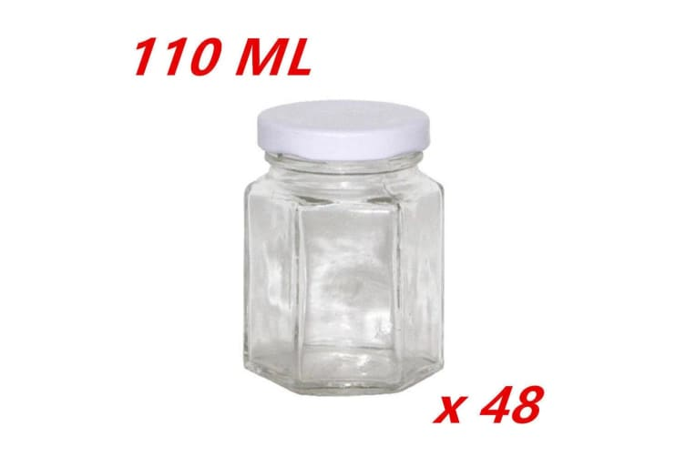 48 x 110ML Hexagon Shaped Clear White Screw Lid Lolly Storage JAR Small Favor Party