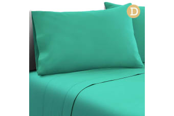 4 Piece Microfibre Sheet Set (Double/Aqua)