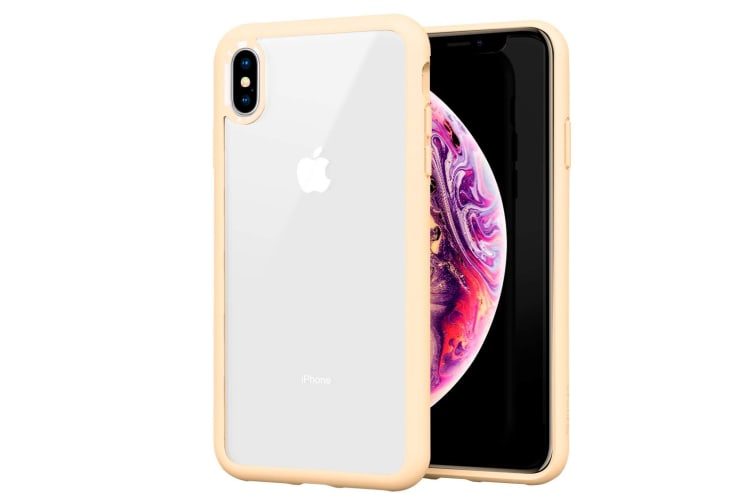 ZUSLAB XS Max Case Tough Fusion Shock Absorption Rubber Bumper Protective Case Transparent Hard Back Clear Cover for Apple - Beige