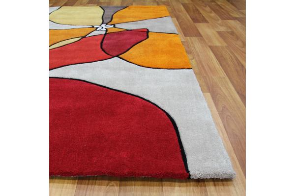 Organic Flower Design Rug Red Beige Rust 225x155cm