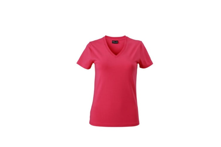 James and Nicholson Womens/Ladies V-Neck Tee (Pink) (L)