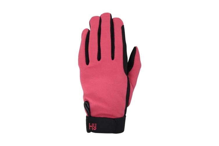 Hy5 Adults Universal Two Toned Riding Gloves (Black/Pastel Raspberry) (S)