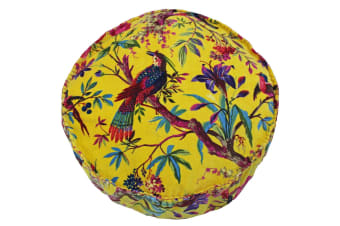 Riva Home Birds Of Paradise Floral Pattern Round Cushion Cover (Yellow/Multicoloured) (50 x 12cm)