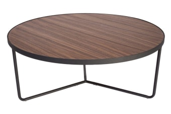Luna Coffee Table | Matte Black & Walnut