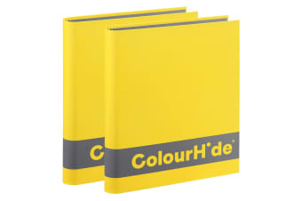 2x ColourHide A4 200 Sheets Silky Touch Ring Binder/Folder File Organiser Yellow