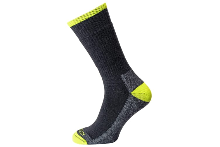 Premium Unisex Merino Hike Supportive Socks (Anthracite Marl/Lime) (6-8.5 UK)