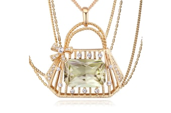 Pamela Handbag Long Necklace w/Swarovski Crystals-Gold/Green