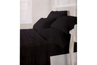 E Of W Superior Collection 100% Cotton Plain Duvet/Bedding Set (400 Thread Count) (Black)