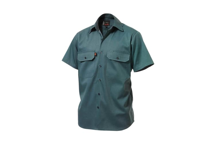 King Gee Open Front Drill Shirt (Green, Size XS)