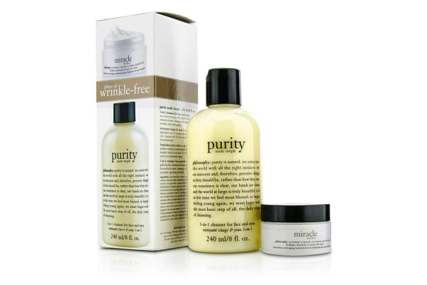 Philosophy Pure & Wrinkle Free Set: Purity 3-In-1 Cleanser 240ml/8oz + Miracle Worker Moisturizer 15ml/0.5oz (2pcs)
