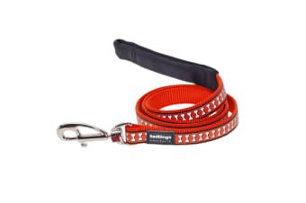 Red Dingo Flying Bones Reflective Dog Lead (Orange) (M)
