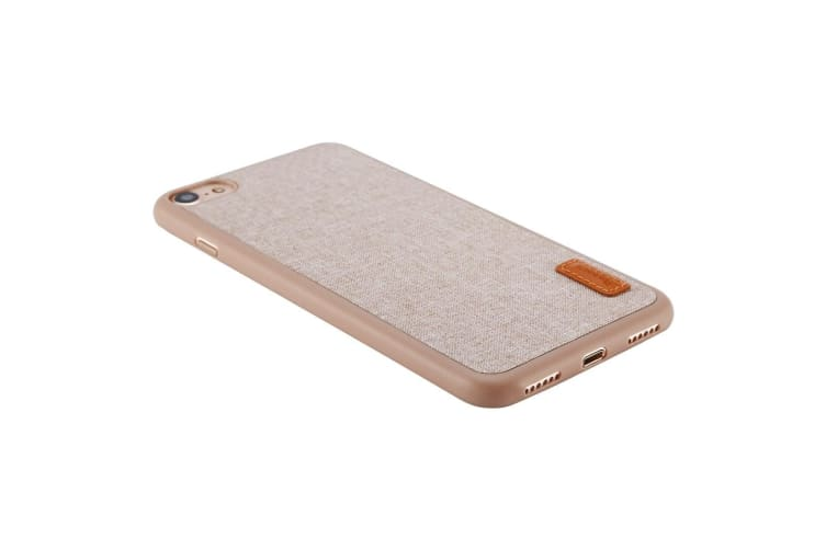 For iPhone 8 7 Case Stylish Woven Fiber Grippy Shell Protective Cover Khaki