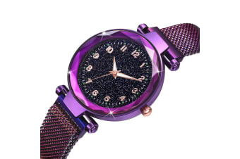 Bullion Gold Sparkly Black Glass Purple Watch