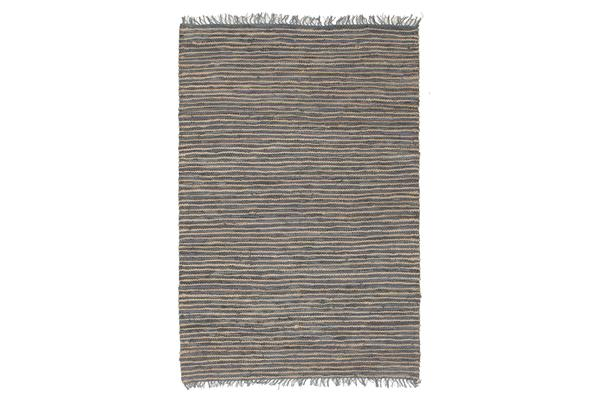 Bondi Leather and Jute Rug Grey 270x180cm