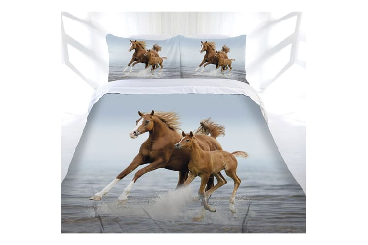 Just Home Frolicking Horse Quilt Cover Set Queen