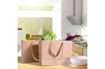 50x Brown Paper Bag Kraft Eco Recyclable Gift Carry Shopping Retail Bags Handles  -  22(L)x18(H)x10(W)cm22(L)x18(H)x10(W)cm