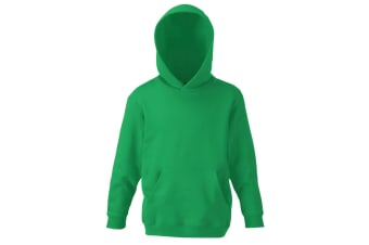 Fruit Of The Loom Childrens Unisex Hooded Sweatshirt / Hoodie (Kelly Green)