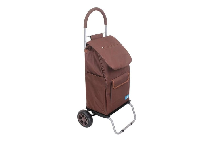 White Magic 3 in 1 40L Shopping Hand Trolley Dolly Carry Bag Foldable Cart Brown