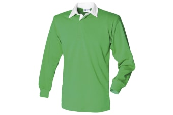 Front Row Long Sleeve Classic Rugby Polo Shirt (Bright Green/White)