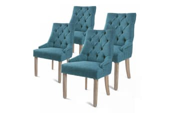 4X French Provincial Oak Leg Chair AMOUR - DARK BLUE