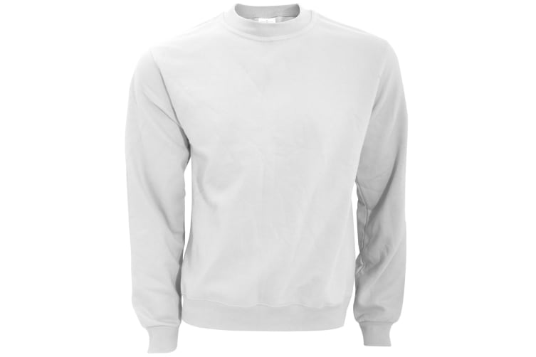 B&C Mens Crew Neck Sweatshirt Top (White) (2XL)