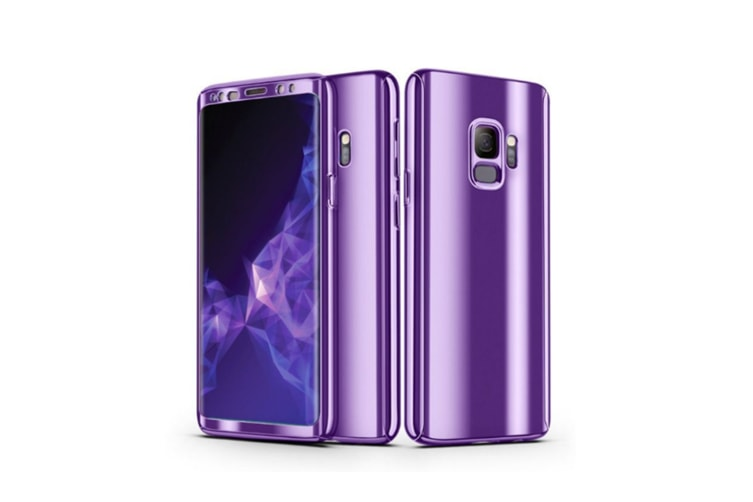 Mirror Cover Full Protective Scratchproof Flip Stand Case Shell For Samsung Purple Samsung A7-2017