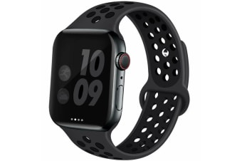 For Apple Watch Band Series 5 4 3 2 Sport Silicone iWatch Strap Band Wristband 38mm/40mm-Gray Black