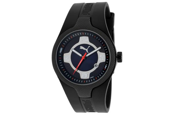 Puma Women's Take Pole Position Blue Mother Of Pearl & Black Dial Black Rubber (PUMA-PU101892003)