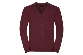 Russell Collection Mens V-neck Knitted Cardigan (Cranberry Marl) (XL)