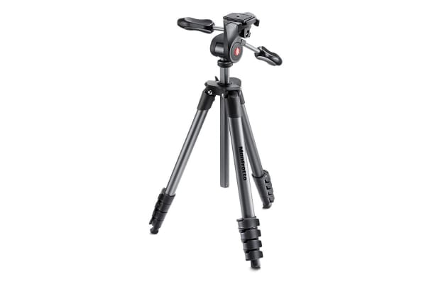 Manfrotto Compact Tripod Advanced with 3 Way Head and Carry Bag - Black (MKCOMPACTADV-BK)
