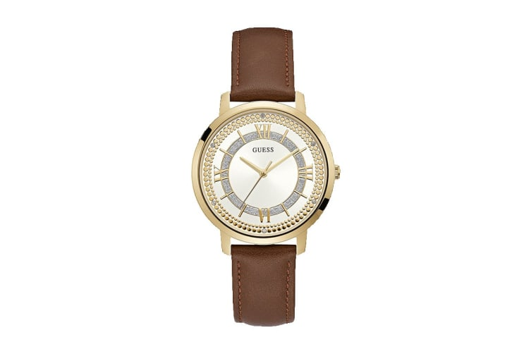 Guess Women's Montauk Gold Brown Leather Strap Watch (Brown/Gold)