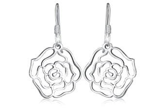 .925 Highly Polished Rose French Hook Earrings-Silver