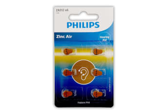 6pc Philips Button Cell Hearing Aid Battery