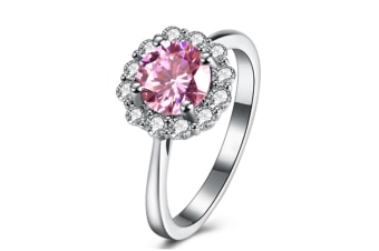 925 Sterling Silver Cubic Zirconia Flower Shape Ring  6