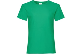 Fruit Of The Loom Girls Childrens Valueweight Short Sleeve T-Shirt (Kelly Green)