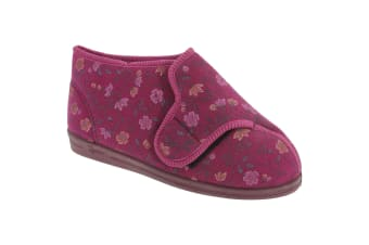 Comfylux Womens/Ladies Betty Superwide Floral Bootee Slippers (Wine)