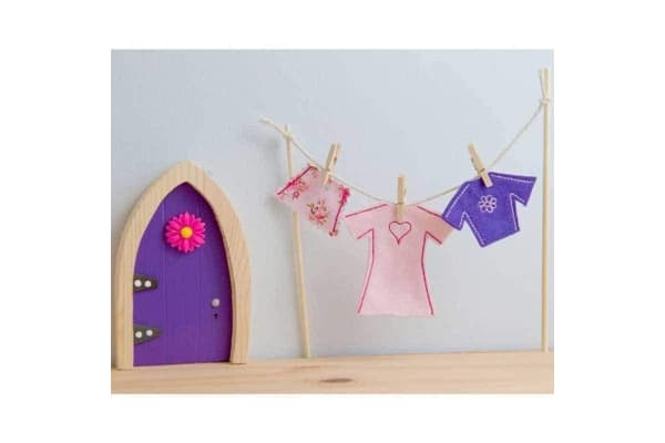 Magical Irish Fairy Door Clothes Line and Female Fairy Clothes Set