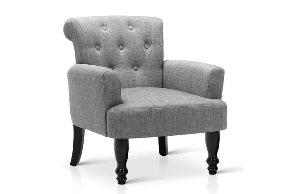 Wing Armchair French Provincial Linen Fabric (Ash Grey)