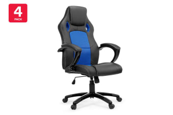4 Pack Ergolux RX8 Deluxe Gaming Office Chair (Blue, Racing Series)