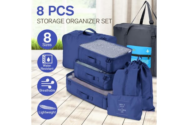 8 Pcs Travel Packing Cubes Pouches Set Clothes Organiser Luggage Suitcase Storage Bags - Navy