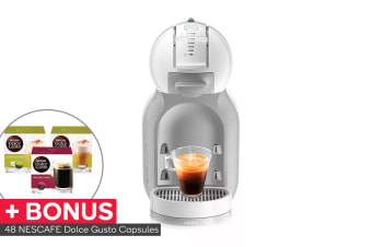 NESCAFE Dolce Gusto Mini Me Automatic Capsule Coffee Machine with BONUS 48 Capsules - White (NCU500WHT)