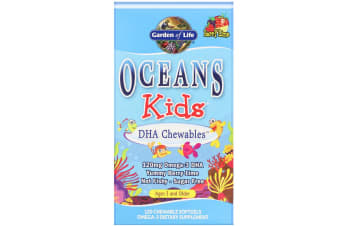 Garden of Life, Oceans Kids, DHA Chewables, Yummy Berry Lime, Age 3 and Older, 120 mg, 120 Chewable Softgels