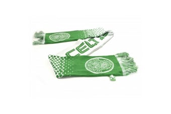Celtic FC Official Football Fade Jacquard Scarf (Green/White)