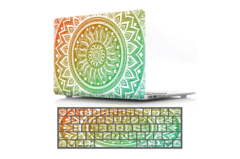 "Marble Frosted Matte Hard Case with Free Keyboard Cover for MacBook Pro 13"" 2016-2018 A1706 A1989 (With Touch Bar)-Green Mandala"