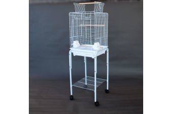 Open Roof Canary Cockatiel Parakeets Finch Bird Cage with Stand [Color: White]
