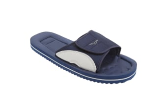 PDQ Mens Surfer Touch Fastening Beach Mule Pool Shoes (Navy Blue/Grey)